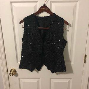 Sequined Black Vest Medium
